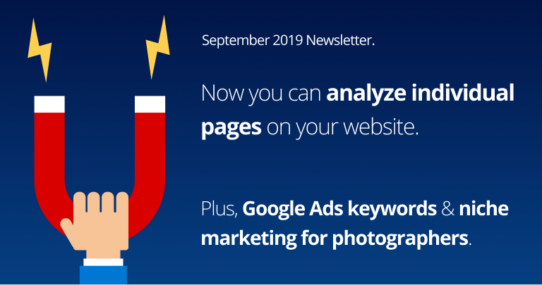 New pages feature, Google Ads keywords & niche marketing for photographers.